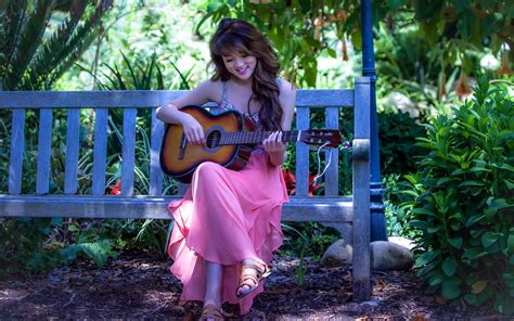 wallpaper girl with guitar girl in pink dress with a guitar wallpapers and images