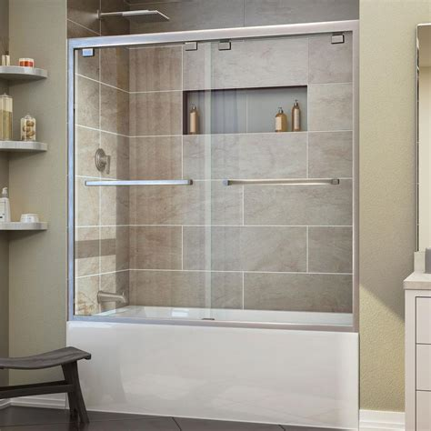Tub With Shower Doors Dreamline Encore 56 In To 60 In X 58 In Framed Bypass Tub Door In Brushed Nickel Shdr 1660580