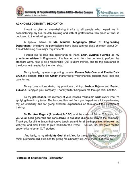 application letter sle for ojt criminology acknowledgement letter for ojt journal 28 images sle