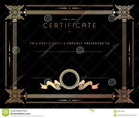 certificate design elements vector vintage certificate template with detailed border in