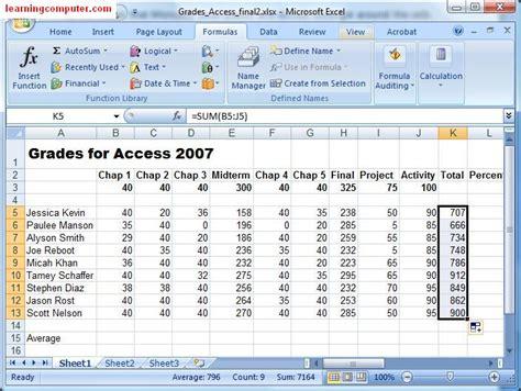 excel tutorial using formulas microsoft excel formulas tab