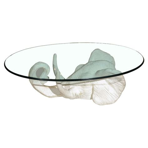 Elephant Glass Coffee Table White Plaster Elephant Coffee Table At 1stdibs