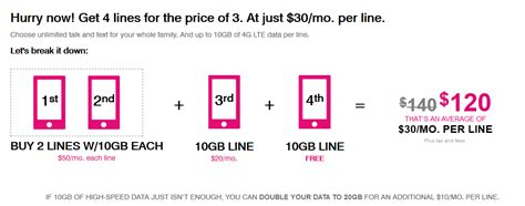 t mobile s new family plan unlimited talk text data 10gb of 4g lte each as low as 30 a line
