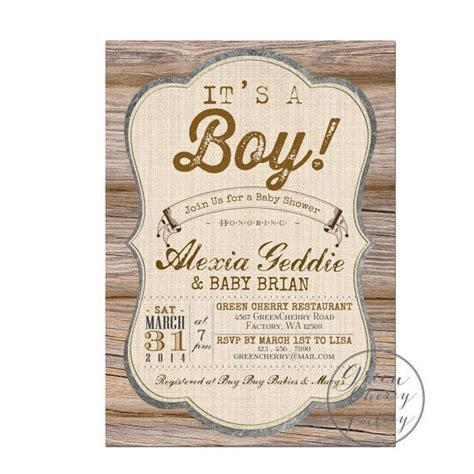 rustic baby boy shower rustic baby shower invitation it s a boy wood rustic