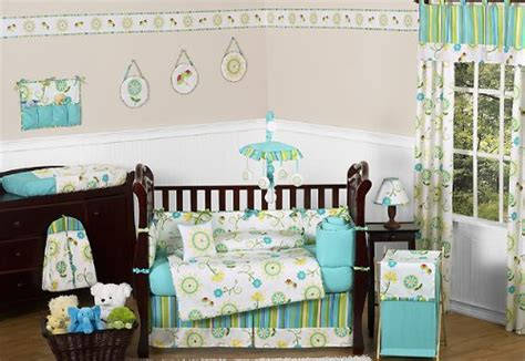 Blue And Green Crib Bedding Sets Turquoise Blue And Lime Green Layla Floral Baby Bedding 9pc Flower Crib Set By Sweet Jojo
