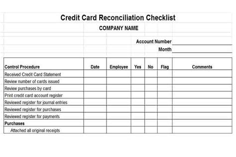 Credit Card Reconciliation Form Template Procedures For Small Business Checklist