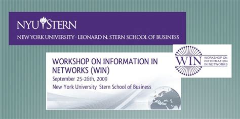 Nyu Mba Information Session by Workshop On Information In Networks Win Nyu