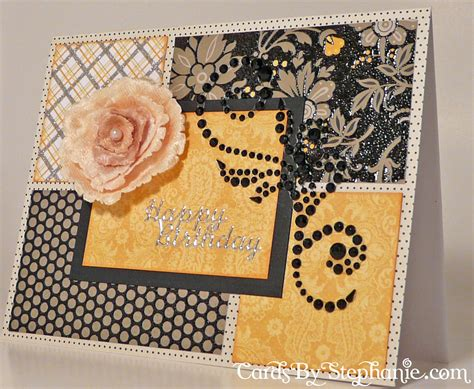Lemon Handmade Cards - lemon with black floral birthday card cards by