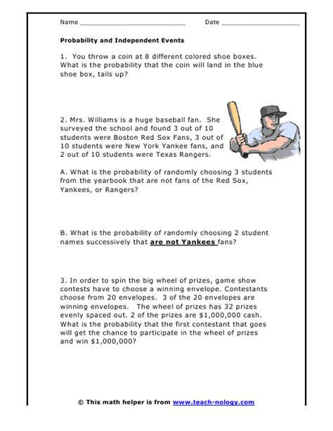 Probability Of Events Worksheet by Probability And Independent Events