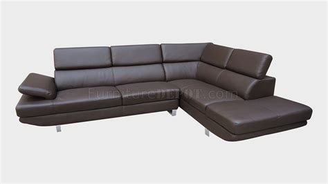 full grain leather sectionals brown top grain full leather modern sectional sofa w metal