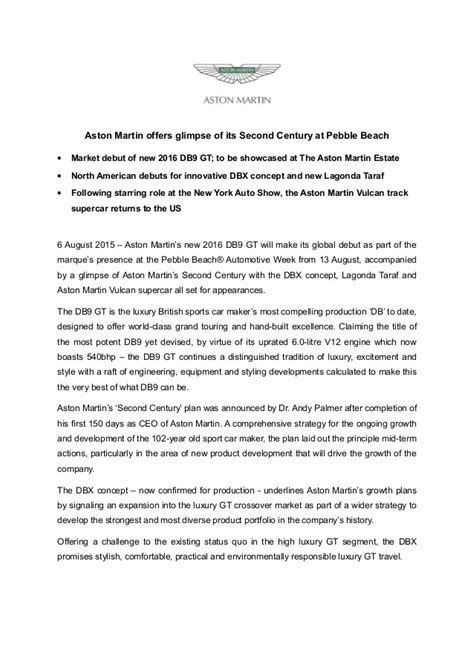 Aston Martin Press Release Aston Martin Db9 Gt Pebble Press Release