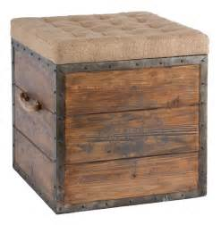 Wood Storage Ottoman Country Wood Crate Burlap Top Cube Ottoman Kathy Kuo Home
