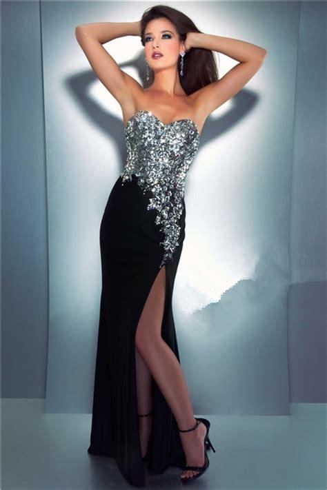 Longdress Set 2in1 Glitter Pink sheath sweetheart black chiffon sequin glitter prom dress