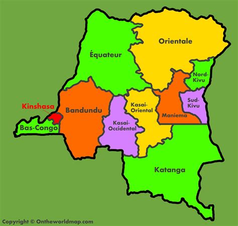 congo map administrative map of democratic republic of the congo