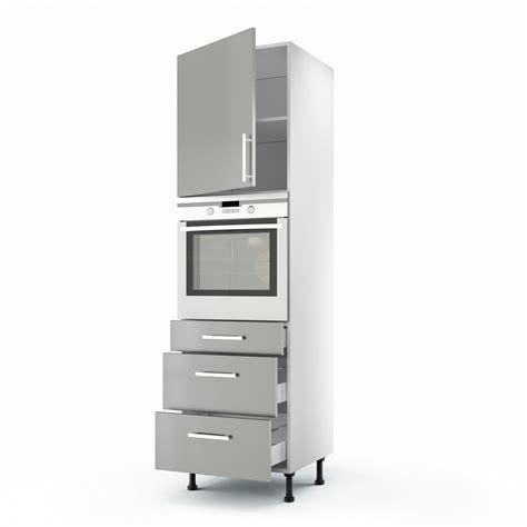 colonne de cuisine 60 cm meuble de cuisine colonne gris 1 porte 3 tiroirs d 233 lice