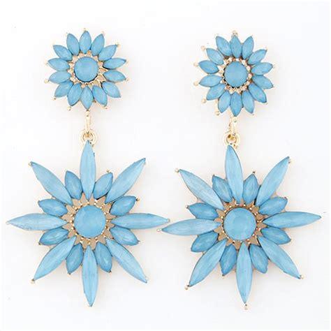 Esene Golden Mask Sunflower Per Pcs resin jointed sunflower dangling earrings blue