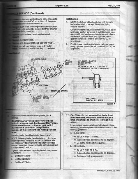motor repair manual 1994 mercury sable head up display 95 sable 3 8 head gasket project how to torque head bolts w pics taurus car club of america