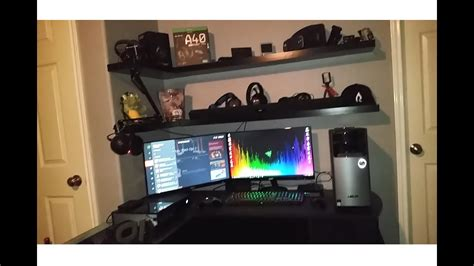 l shaped desk gaming setup updated 2017 gaming setup double monitor l shaped desk