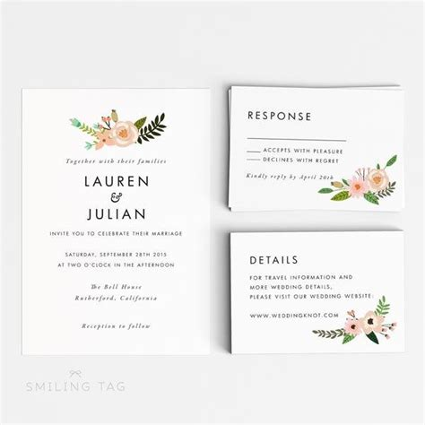 Wedding Card Letter by Printable Wedding Invitation Set Floral Wedding