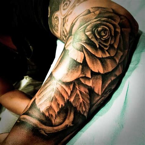 rose tattoo with leaves grey flower and leaf sleeve