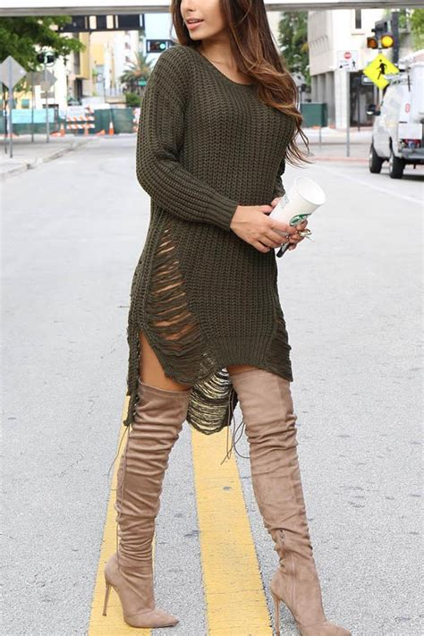 solid color long sleeve ripped sexy sweater dress  long