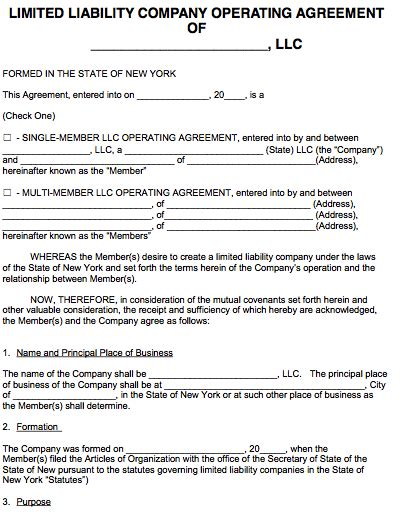Free New York Llc Operating Agreement Template Pdf Word Ny Llc Operating Agreement Template