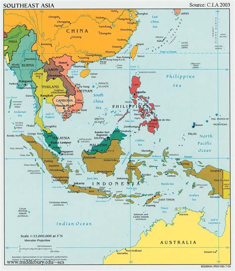 political asia map southeast asia south pacific political map