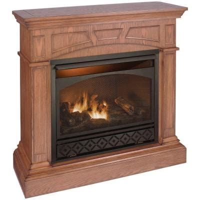 Ventless Gas Fireplace Home Depot by 47 In Vent Free Propane Fuel Gas Fireplace In Medium Oak