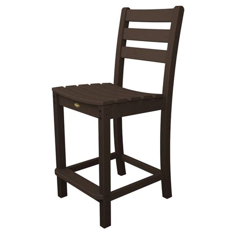 Bar Height Patio Chair Shop Trex Outdoor Furniture Monterey Bay Slat Seat Plastic Patio Bar Height Chair At Lowes