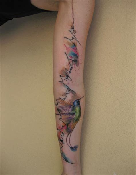 watercolor sleeve tattoo designs humming bird sleeve memes