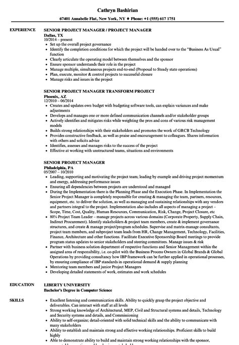 senior project manager resume format senior project manager resume sles velvet