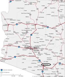 map of arizona locating tucson and az