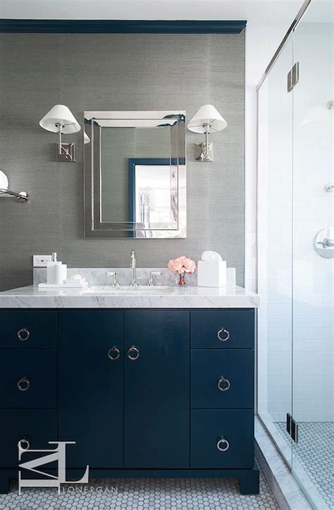 blue grey and white bathroom navy blue and gray bathroom features walls clad in grey grasscloth lined with a
