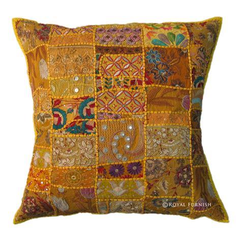 Sari Patchwork - oversized yellow indian sari patchwork embroidered throw