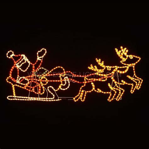 147cm santa in sleigh with reindeer rope light christmas