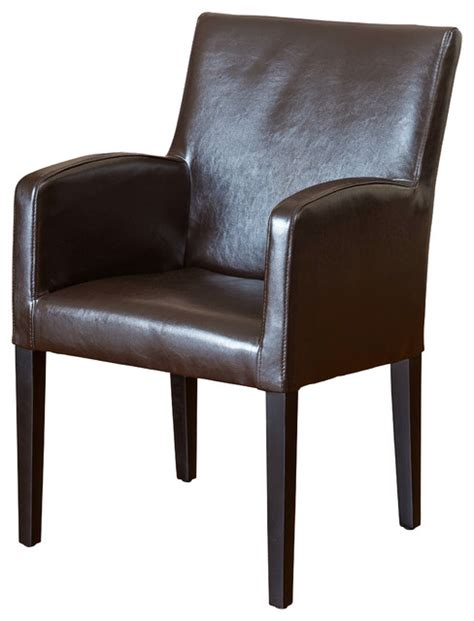 Leather Dining Arm Chairs Byron Brown Leather Arm Chair Contemporary Dining Chairs By Great Deal Furniture
