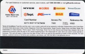 Buy Coles Myer Gift Card - gift card coles myer gift card coles cm australia coles myer series col cm004