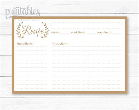 4x6 Recipe Card Template Editable by Editable Recipe Cards Kitchen Organization Brown Recipe
