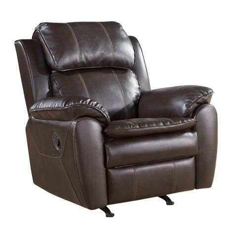 dark brown recliner abbyson living harbor leather rocker recliner chair in