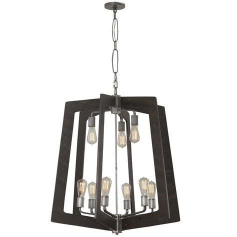 Steel Chandelier Varaluz Lofty 9 Light Faux Zebrawood And Steel Chandelier 268c09sl The Home Depot
