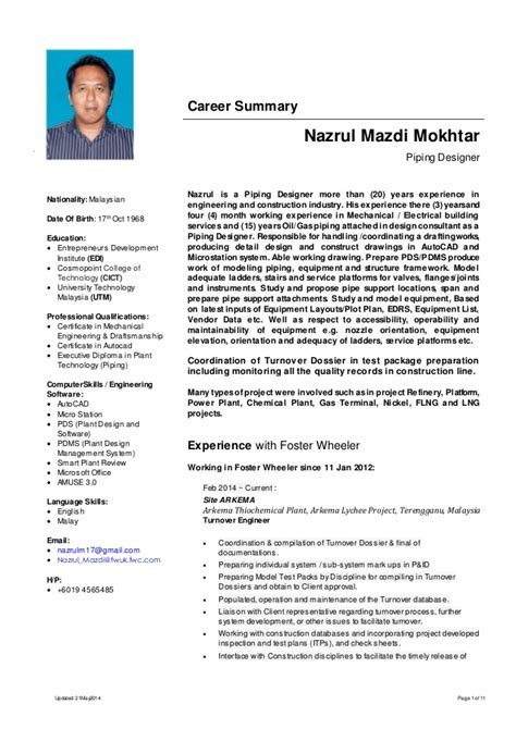Resume Format Pdf Engineering by Resume Nazrul Mazdi Mokhtar Piping Designer