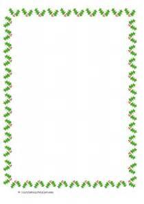 christmas holly border paper a4 portrait plain half lined