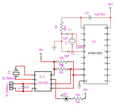 ds1307 circuit diagram gt circuits gt rtc ds1307 interfacing with at89c2051 43