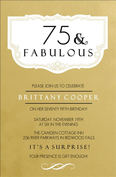 75th birthday invitation templates 75th birthday invitations fabulous gold 75th birthday
