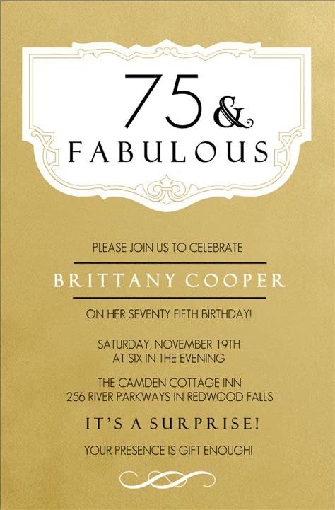 75th birthday invitations fabulous gold 75th birthday