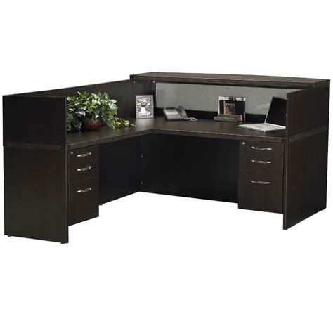 L Shaped Reception Desk Mayline Aberdeen Reception Desk L Shaped W 2 Pedestal