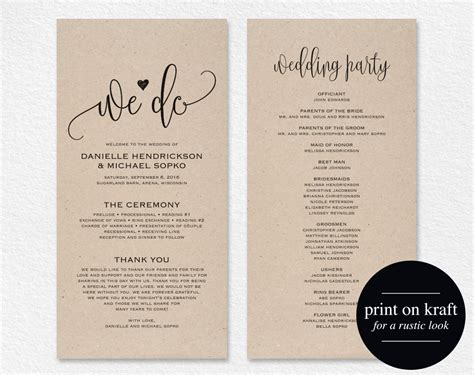 Wedding Program Template Wedding Program Printable We Do Program Template