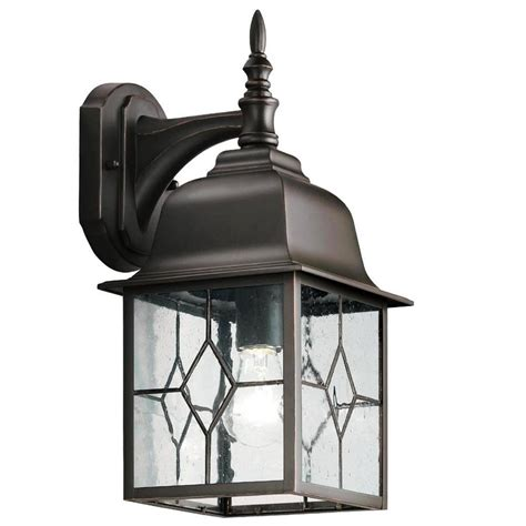 Outdoor Patio Lighting Fixtures Shop Portfolio Litshire 15 62 In H Rubbed Bronze Outdoor Wall Light At Lowes