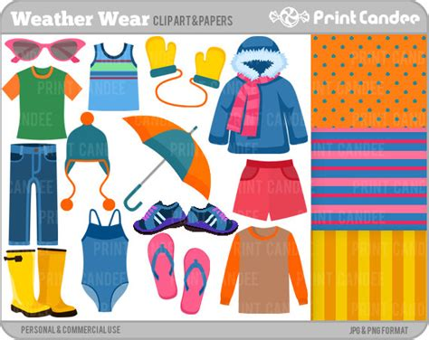 Whats In Seson To Waer | weather wear digital clip art personal and commercial use