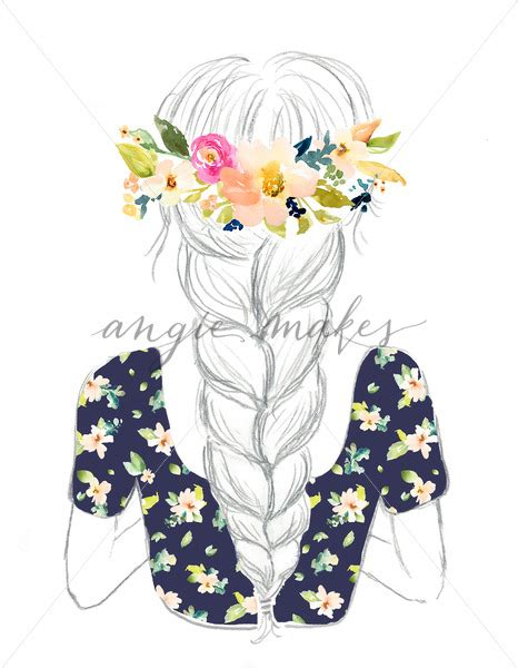 cute drawing  girl  flowers crown  cute hand